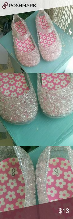 9ebac4b014fa Glitter Jelly Shoes Clear with siver glitter jelly shoes. Velcro strap  closure