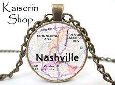 Nashville Necklace Map Necklace Pendant Charm by KaiserinShop