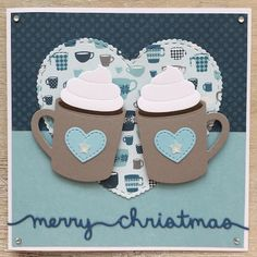 card cup mug MFT hot cocoa cups Die-namics big heart - Echo Park Hello Winter paper pad collection - LindaCrea: Kerst 2016 - Hot Cocoa cups