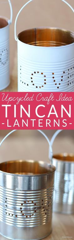 Upcycled Craft Ideas for Valentines Day. Learn how to make an adorable tin lantern from an upcycled tin can! These easy DIY lanterns are made from just two recycled craft supplies: a tin can and a wire coat hanger. Perfect for rustic wedding, Valentines Day or a romantic décor. The Art Of Up-Cycling: repurposed tin cans to lanterns. #primitivecraftstosell
