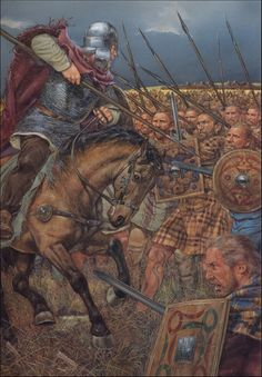 """Northumbrian Saxons against Picts: the Battle of Dunnichen(Necthansmere),May AD.""- La Pintura y la Guerra. Sursumkorda in memoriam Vikings, Medieval World, Medieval Fantasy, Military Art, Military History, Rome Antique, Celtic Warriors, Empire Romain, Templer"