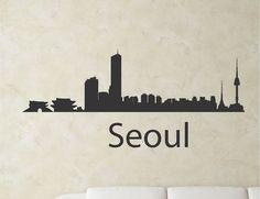 SlapArtSeoul South Korea city skyline Vinyl by VinylMasterpieces $15.99