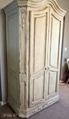 Annie Sloan Chalk Paint Old Ochre French Armoire Redo Furniture, Furniture Rehab, Furniture Restoration, Refurbished Furniture, Painted Armoire, Furniture Inspiration, Annie Sloan Chalk Paint Old Ochre, Paint Furniture, Chalk