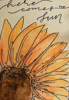 Watercolor sunflower here comes the sun watercolor cards, watercolour pens, watercolor books, watercolors Watercolor Cards, Watercolor Flowers, Art Flowers, Calligraphy Watercolor, Watercolor Water, Simple Watercolor Paintings, Watercolor Books, Watercolor Print, Watercolor Illustration