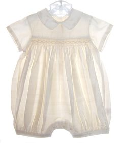 NEW Ivory Silk Smocked Romper for Baby Boys $65.00