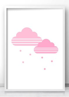 Pink clouds nursery wall art print, Modern baby girl nursery decor, Nursery printables