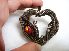 Copper wire wrapped pendant When love is by rainbowIVAart on Etsy
