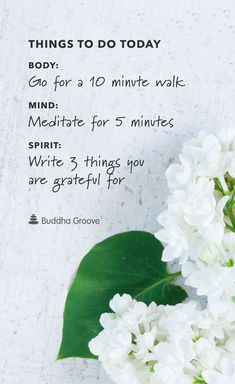 Things to do today: go for a walk, meditate, be grateful. #inspiration