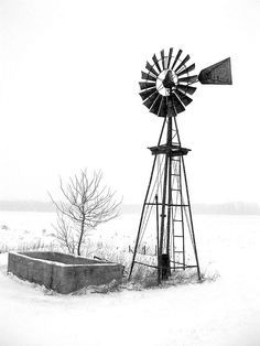 Black and White taken during the first snowstorm of the windmill on the corner of my property at the farm. Windmill Drawing, Windmill Tattoo, Farm Windmill, Windmill Art, Old Windmills, Water Tower, Old Farm, Le Moulin, Farm Life