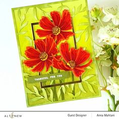 Altenew Cards, Acrylic Flowers, Die Cut Cards, Elements Of Design, Flower Cards, Greeting Cards Handmade, Cosmos, Birthday Cards, Card Making