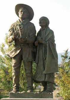 Statue of Charlotte Small and David Thompson, Invermere, British Columbia # CLICK picture for a full write-up # Cree Indians, St Olaf, David Thompson, Canadian History, Old West, Rocky Mountains, British Columbia, Beautiful Day, Peace And Love