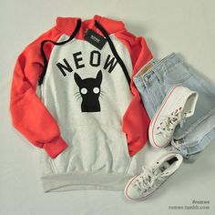 Cute Asian Fashion - Lollimobile.com cat, meow, neow, hoodie, sweatshirt