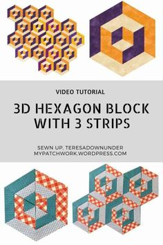 video tutorial: hexagon quilt block (Sewn up, TeresaDownUnder) Tumbling Blocks Quilt, Quilt Blocks, Quilt Block Patterns, Pattern Blocks, Hexagon Quilting, Hand Quilting, Quilting Tutorials, Quilting Projects, Optical Illusion Quilts