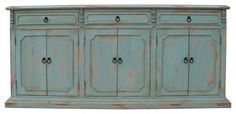 Narrow Sideboard, Distressed Pale Blue - traditional - Buffets And Sideboards - Koenig Collection