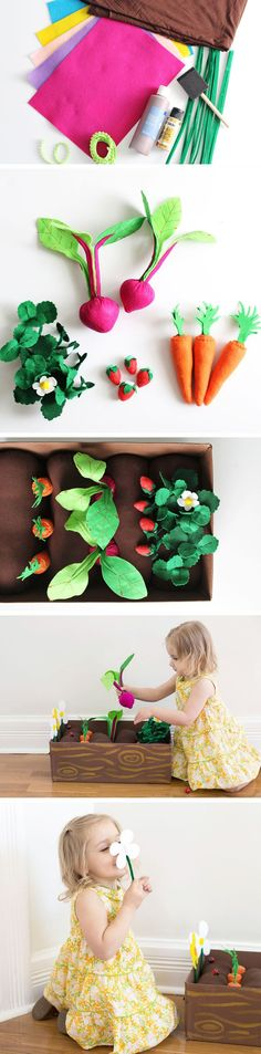 With spring in full swing, this fun indoor DIY felt garden lets your kids get their green thumb on by planting fruits, vegetables, and flowers in a planter box. Make this cute sewing project for hours of fun for your little ones!