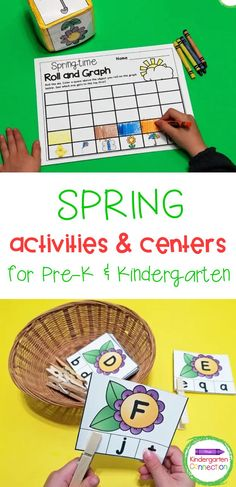 The best way to welcome a new season is with your math and literacy centers all planned out! These Spring Activities and Centers for Pre-K & Kindergarten are exactly what you need. This themed pack of spring activities includes 18 hands-on centers for working on uppercase and lowercase letters, sight words, CVC and CVCe words, counting, addition and subtraction, and more. Kindergarten Centers, Kindergarten Classroom, Literacy Centers, Fun Math Activities, Spring Activities, Cvce Words, Sight Words, Uppercase And Lowercase Letters, Activity Centers