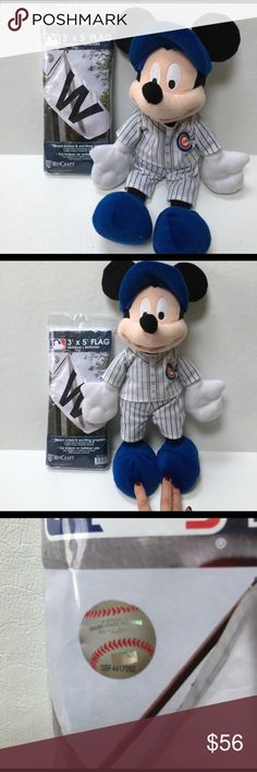 """Chicago Cubs! Disney Mickey Mouse W Flag WIN Final markdown!  Authentic  """"W"""" Flag. New in sealed package, Sz 3'x5'. & collectible official Disney Mickey Mouse possible Plush. Dressed in Cubby Home Team Uniform.  Mickey does not stand on his own, meant to be """"sitting on the bench! Rooting on his team"""" measures Approx 18"""" tall. Sold as a pair. Disney Accessories Gloves & Mittens"""