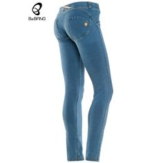 Bebang high elastic denim hipster formation of sexual jeggings push up hip sport Fitness Narrow trousers Jeans Trousers