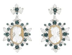 Dior Coffret De Victoire Earrings - white gold, diamonds, agate cameos and garnets