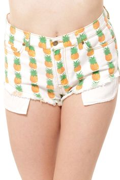 Show off  your tropical side with these pineapple print high waist shorts!