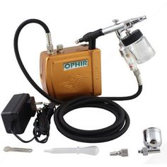 OPHIR Mini Airbrush Compressor Turtle Pump Set Tattoo Nail Paint Tool - Gchoic.com