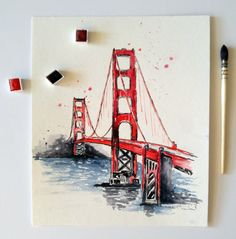 Watercolor Travel Illustration Golden gate by NiksPaintGallery