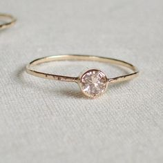 Sparkling Thread of Gold - One Hammered Stacking Ring with 14k Gold Set Faceted Stone - Delicate Jewelry