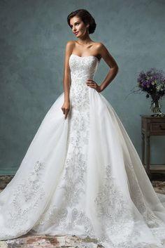 Gorgeous 2017 Sheer Amelia Sposa Wedding Dresses Detachable Remove Skirt Illusion Applique Lace Long Sleeve Bridal Ball Gowns