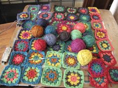https://flic.kr/p/9UHKS1 | WIP granny squares for scarves | Granny square pattern from attic24.  Love working with this yarn--merino wool and silk....
