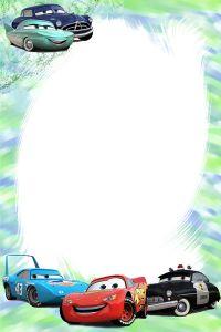 Frame Cars ~ Il Magico Mondo dei Sogni Cars Invitation, Cars Birthday Invitations, Car Themed Parties, Cars Birthday Parties, Boy Birthday, Baptism Invitation For Boys, Disney Frames, Photo Frame Design, Disney Cars Party