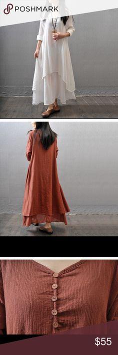 White Linen blend dress M 4-6, L 6-8, XL 8-10 XXL 10-12 XXXL 12-14 Dresses Midi
