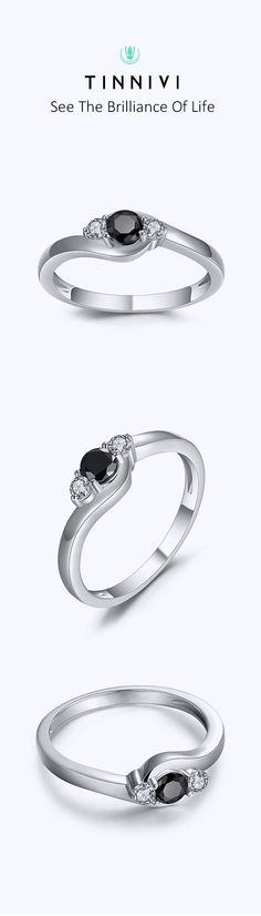 Shop ❤️Round Cut 1/4CT Black Gemstone Sterling Silver Engagement Ring❤️online️, Tinnivi #Jewelry creates quality fine jewelry at gorgeous prices. Shop now! #TinniviJewelry #weddingring #wedding#bride#Ring