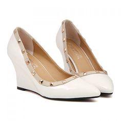 Elegant Rivets and Color Block Design Women's Wedge Shoes, WHITE, 38 in Wedges   DressLily.com