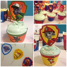 "PAW Patrol DIY Birthday Cupcakes! Just print, cut, and put together to ""puppy-fy"" your party."
