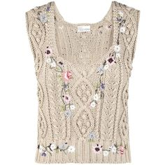 Redvalentino Embroidered Cotton Knit Corset ($1,065) ❤ liked on Polyvore featuring tops, pink corset, embroidered top, metallic top, metallic sleeveless top and cotton knit tops