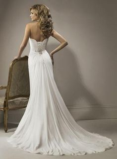 Sexy Wedding Dress Sheath/Column Simple Beaded Sweep Train