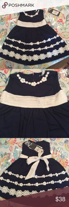 Hartstrings baby girl dress Navy blue and white dr as & panty set. Brand new with tags, smoke free home. Hartstrings Dresses Formal