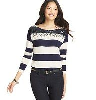 Sequin Neck Stripe Top - Starring a shower of sequins at the neckline, we're crazy about the easygoing glam of this wide striped cotton style. Ballet neck. Long sleeves. Drop shoulders. This needs to go on sale soon.