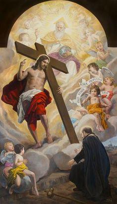 The vision of St. Catholic Art, Catholic Saints, Religious Art, Jesus Christ Images, Jesus Art, Religious Pictures, Jesus Pictures, Jesus Drawings, Christian Artwork
