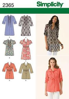 Simplicity 2365 - tunic tops in two lengths.  I love the pin-tucked one with short sleeves!!