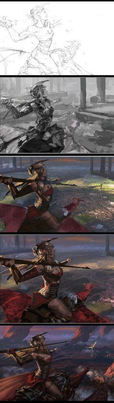 ArtStation - Javelin hunt, Yuka Han