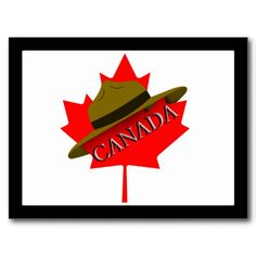 Mountie Hat on Red Maple Leaf Cards shipping to Frome, United Kingdom Quilts Canada, Canadian Things, Leaf Cards, Canada Images, Custom Postcards, Native Design, Canada Day, Flag Design, Colorful Backgrounds