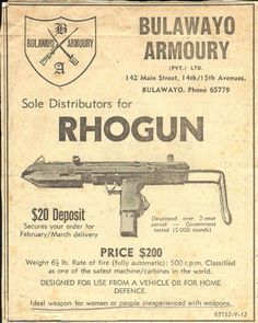 Rhodesia. Advert for a locally made weapon during the Bush War.