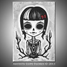 Art By Lupe Flores Coffin Girl 5x7 inches Original Painting BlackWillowGallery, $100.00