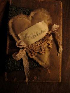Sweet Prim Valentine Vintage Lace Romantic Heart Petite Pillow My Valentine.