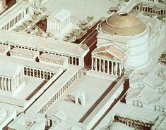 Model of the ancient Roman Pantheon was consecrated as a temple to all the gods and commissioned by Marcus Agrippa during the reign of Augustus and rebuilt by the emperor Hadrian about 126 AD. Classical Architecture, Historical Architecture, Ancient Architecture, Sustainable Architecture, Landscape Architecture, Ancient Rome, Ancient Greece, Ancient History, Roman History