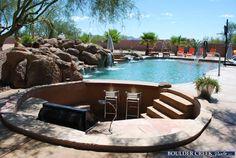 sunken bbq and bar Tropical Pool, Tropical Style, Patio Ideas, Backyard Ideas, Outdoor Ideas, Boulder Creek, Outdoor Kitchens, Outdoor Spaces, Outdoor Living