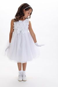 Flower Girl Dresses - Flower Girl Dress Style 177 - White Embroidered Organza Dress with Rhinestone Bow