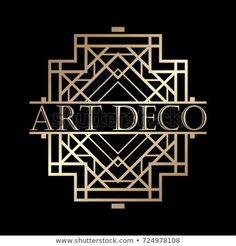 Vintage retro art deco frame with text and golden gradient. Template for design. Retro Art, Retro Vintage, Art Deco Fashion, Frames, Illustrations, Templates, Patterns, Logos, Design
