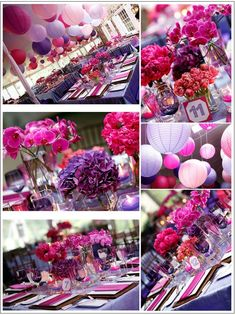 Hot Pink And Purple Wedding Themes Bright Colors Decorations